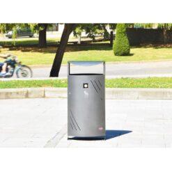 Corbeille Pau cendrier acier mobilier urbain solide ville poubelle en situation