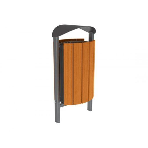 Corbeille Silaos acier et bois lasuré chêne clair