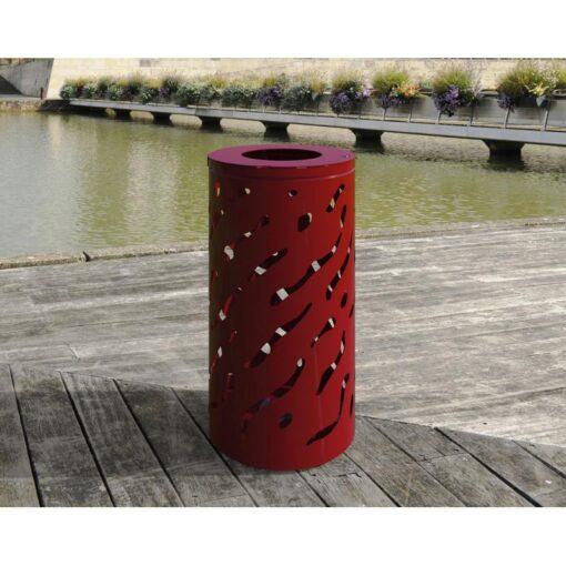 Corbeille Venise standard 80 Litres rouge Procity sans seau en situation (2)