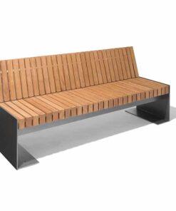 Banc bordeaux design acier et bois nusser