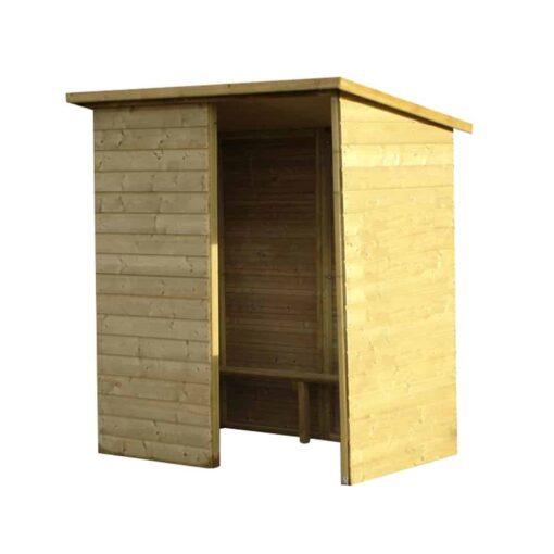 Abri voyageur bois sans fenêtres avec demi bardage frontal