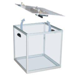 Urne électorale transparente avec serrure sécurisée ouverte