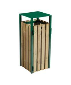 mobilier urbain rossignol corbeille eden sans cendrier bois et acier