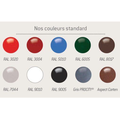 Nuancier couleurs standard Procity