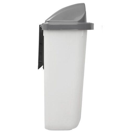 Corbeille Xerios translucide gris et blanc de profil
