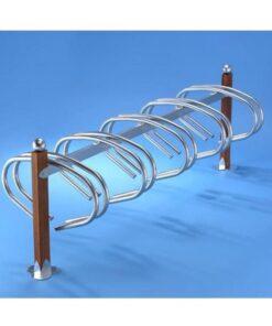Support velos simply 10 places bois en acier zingue sur platines avec boule mobilier urbain