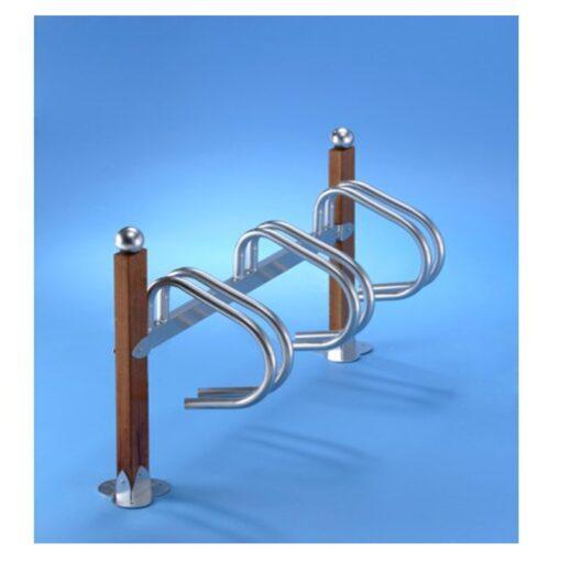Support velos simply 3 places bois en acier zingue sur platines avec boule mobilier urbain