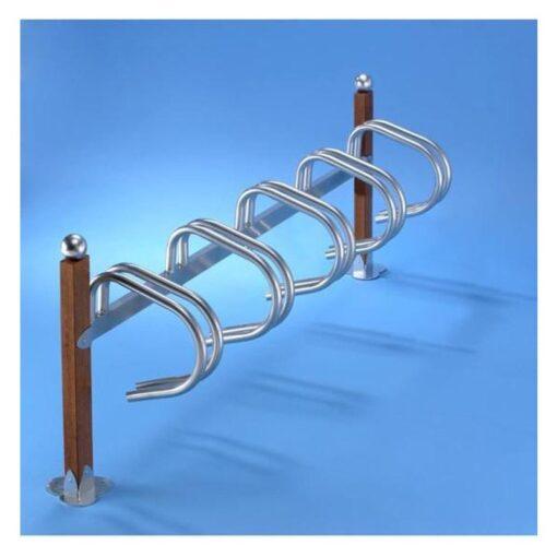 Support velos simply 5 places bois en acier zingue sur platines avec boule mobilier urbain