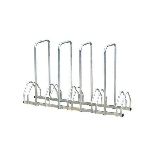 Support cycles avec arceaux 5 places an acier sur fond blanc mobilier urbain