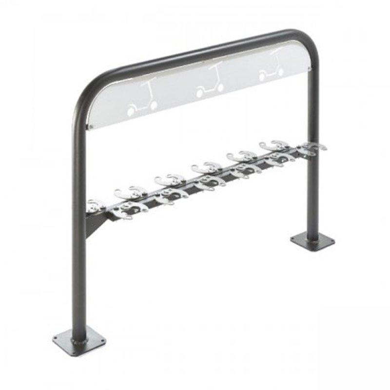 Support trottinettes 12 places verrouible avec cadenas sur fond blanc mobilier urbain