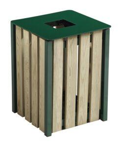Corbeille Eden acier et bois 50L mobilier urbain Vert mousse RAL 6005