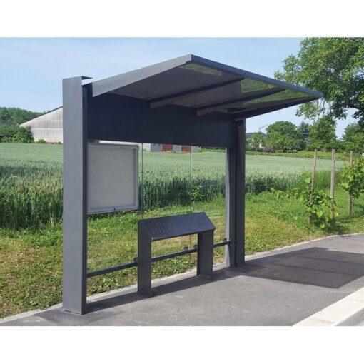 Abri bus avec un assis debout