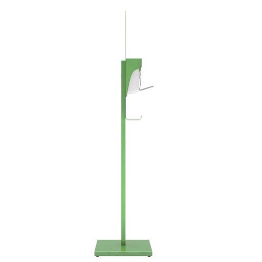 Station de désinfection des mains Sanimains manuel sur pied en acier vert gel hydroalcoolique distributeur sur pied de cote