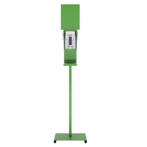 Station de désinfection des mains Sanimains manuel sur pied en acier vert gel hydroalcoolique distributeur sur pied de face