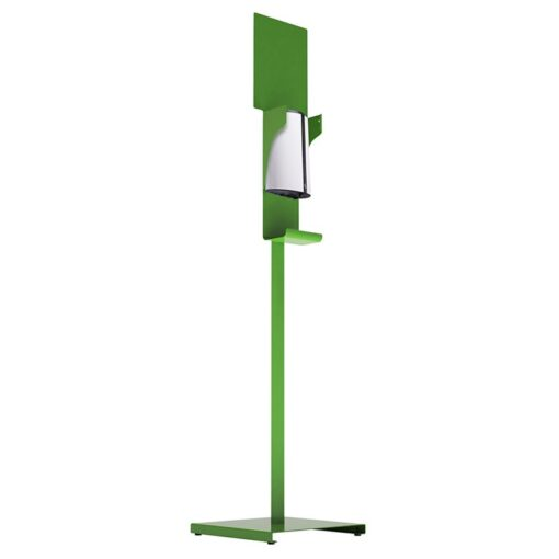 Station de désinfection des mains Sanimains automatique sur pied en acier vert gel hydroalcoolique distributeur sur pied de face