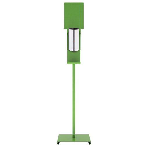 Station de désinfection des mains Sanimains automatique sur pied en acier vert gelhydroalcoolique distributeur sur pied de face