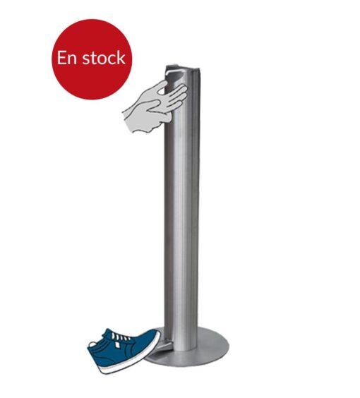 Borne distributeur universel de gel hydroalcoolique Ilona sur pied en inox acier inoxydable design sans contact mécanique en stock
