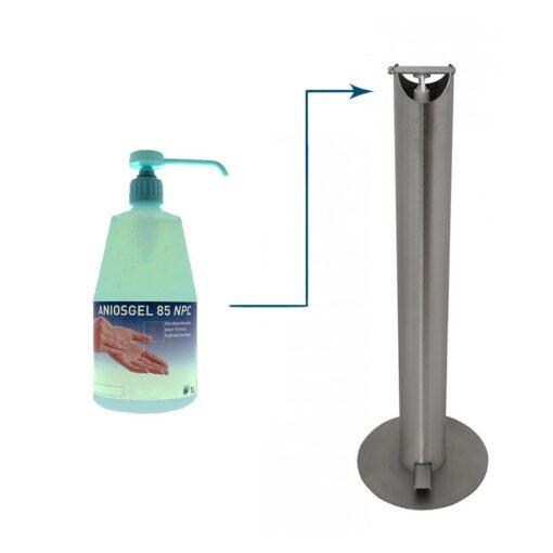 Borne distributeur universel de gel hydroalcoolique Ilona sur pied en inox acier inoxydable design sans contact mécanique
