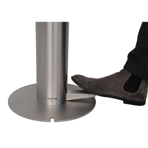 Pédale pour borne distributeur universel de gel hydroalcoolique sur pied en inox acier inoxydable design sans contact mécanique