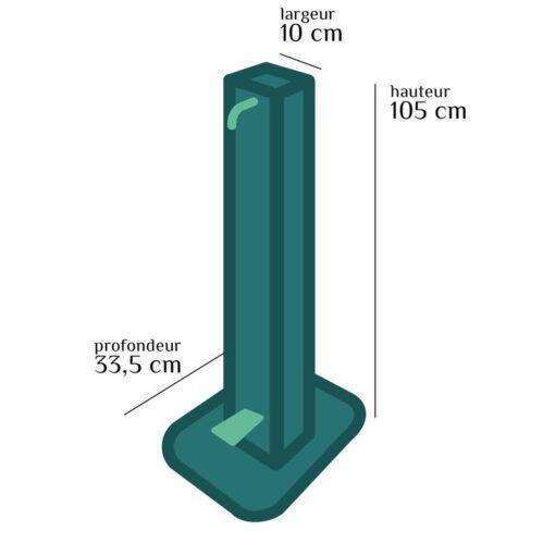 Colonne mains propres distributeur de gel hydroalcoolique sur pied sans contact aluminium recyclable coronavirus covid-19 schéma