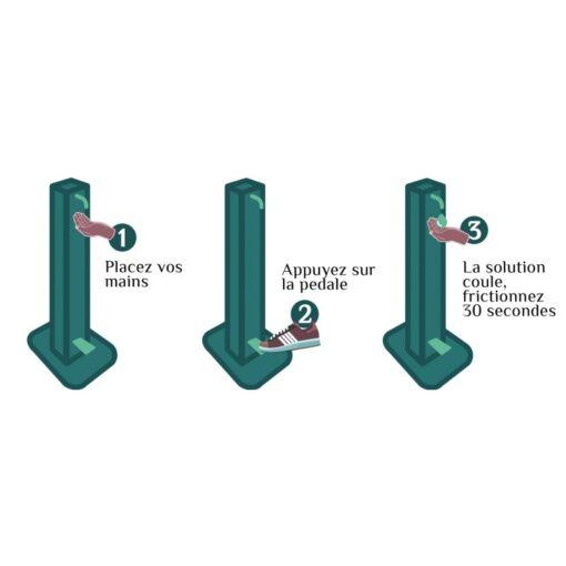 Colonne mains propres distributeur de gel hydroalcoolique sur pied sans contact aluminium recyclable coronavirus covid-19 tutoriel utilisation