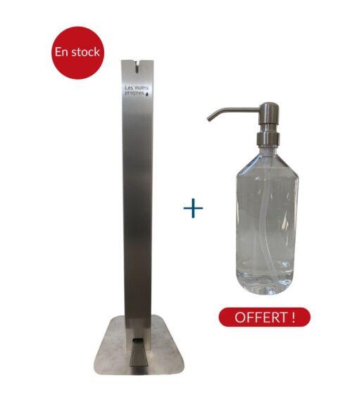 Colonne mains propres distributeur de gel hydroalcoolique sur pied sans contact aluminium recyclable coronavirus covid-19 en stock bouteille offerte
