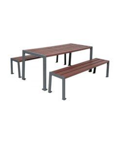 Table de pique-nique Silaos acier et plastique recyclé