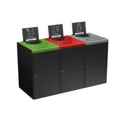 ALITRI Meuble de tri 3 x 90L Gris : Vert : Rouge : Gris